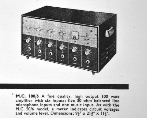 The first style of Vox 100 watt public address amplifier