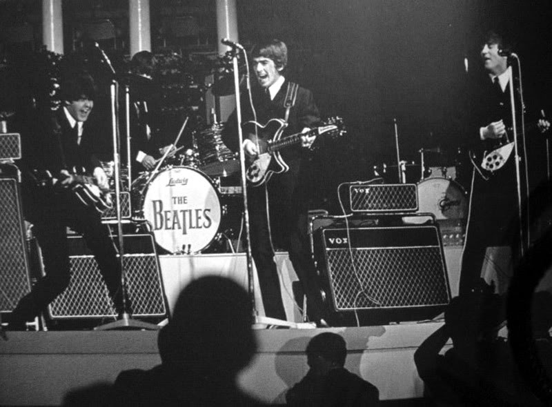 The Beatles, Stockholm, July 1964, with new Vox AC100s