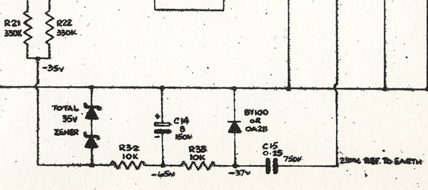 Vox AC100 fixed bias circuit, detail from the schematic