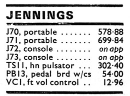 Jennings Electronic Industries prices, Beat Instrumental magazine, December 1974