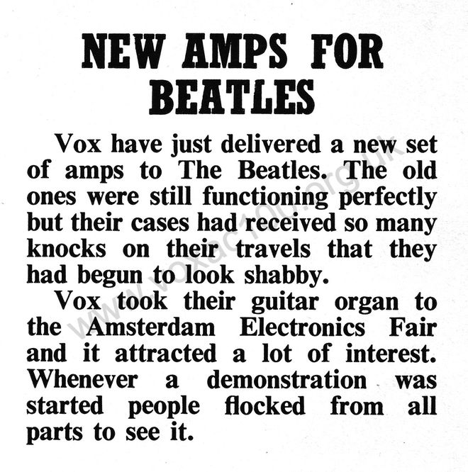 Snippet on the Beatles' Vox AC100s from Beat Instrumental magazine, November 1965