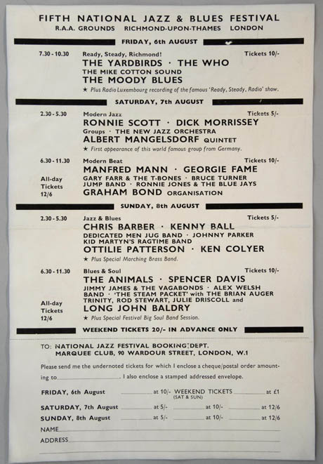 National Jazz and Blues Festival, 5th August 1965