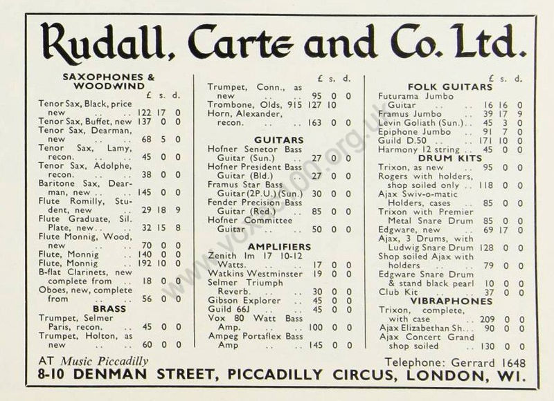 Rudall, Carte and Co. advert for a Vox AC80/100, May 1965