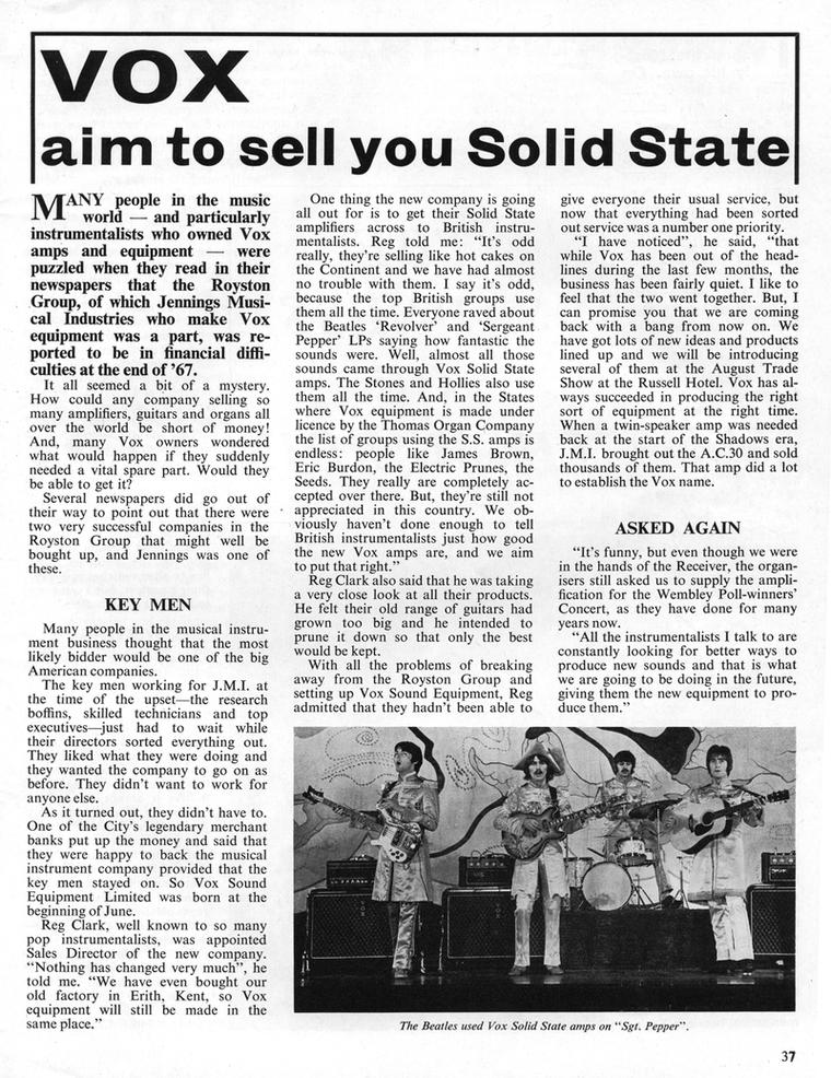 Vox Sound Equipment Limited, the new company promoted in Beat Instrumental magazine, August 1968