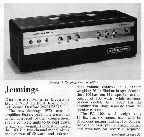 Beat Instrumental magazine, February 1970, the Jennings J200
