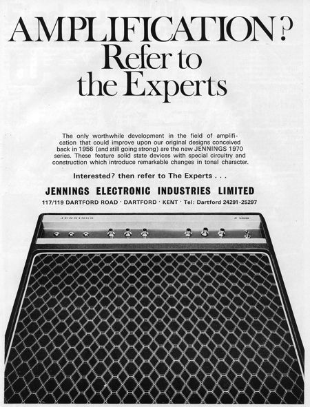 Jennings Electronic Industries, advert in Beat Instrumental magazine, February 1970