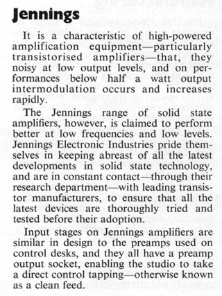 Jennings Electronic Industries, note in Beat Instrumental magazine, January 1970