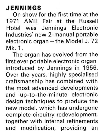 Jennings Electronic Industries at the British Musical Instrument Trade Fair, August 1971