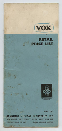 Vox pricelist from April 1967